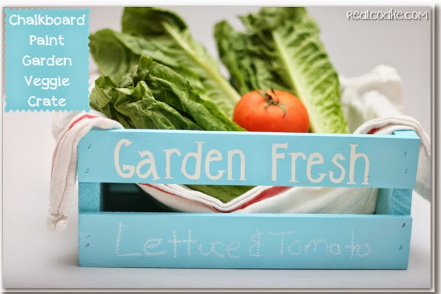 Chalkboard Paint Ideas ~ turning a crate into a place to store and label fresh veggies from realcoake.com