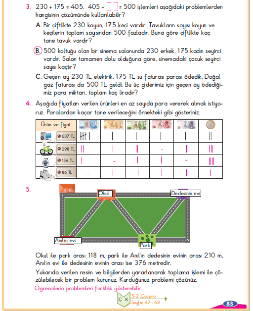 3. Sınıf Berkay Yayınları Matematik Ders Kitabı 83. Sayfa Cevapları Problem Çözelim ve Kuralım