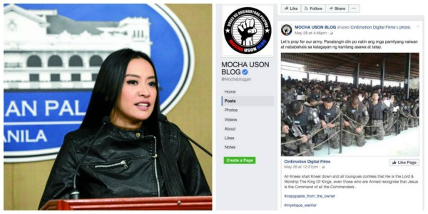 Mocha Uson shares unverified photo of PH troops