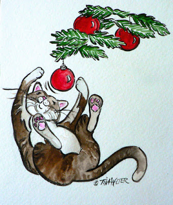 """A Joyful Heart"" 7""x 6"" watercolor on paper ©2016 Tina M. Welter Drawing of a happy cat playing with red Christmas tree ornaments."