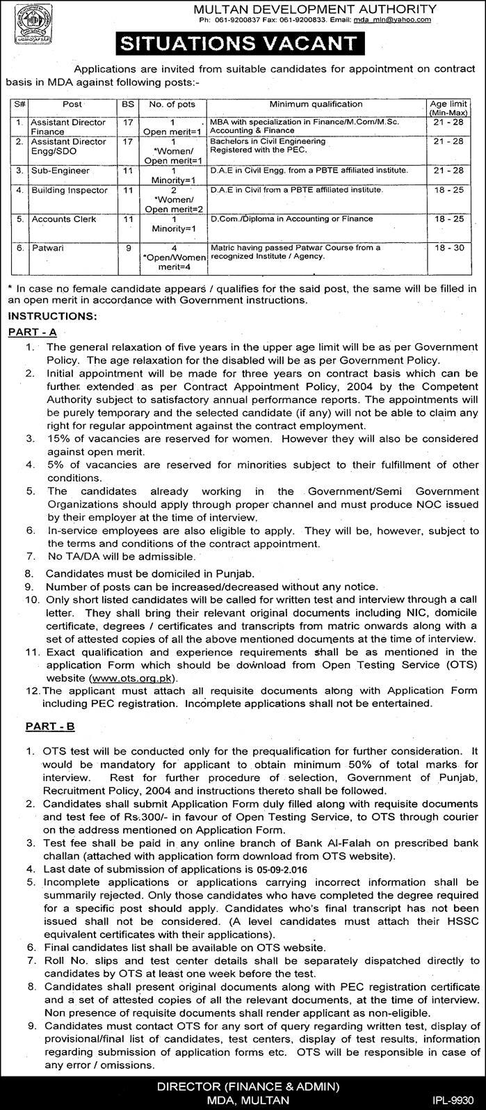 Govt Jobs in Pakistan MDA Jobs in Multan Latest Jobs for Admin and accounts