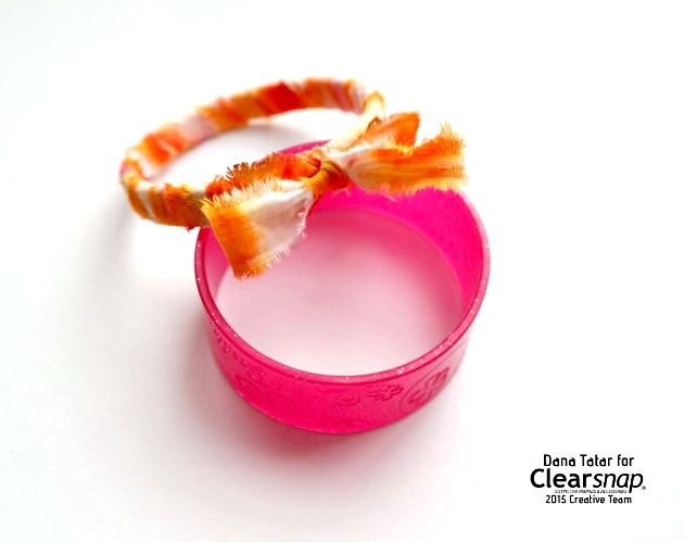 Izink Tie-Dyed Fabric Wrapped Bangle Bracelet by Dana Tatar