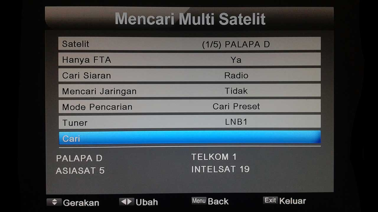 Cara Mencari Channel Multi Satelit Matrix Sinema HD