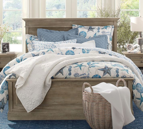 Driftwood Bed with Blue Coastal Bedding