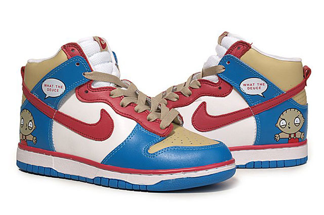 8407f8fb2da94 What The Deuce Nike Family Guy Dunks Hightops Stewie Griffin ...