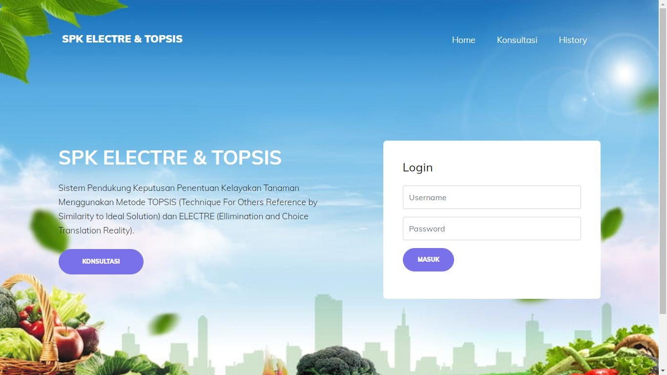 Aplikasi Sistem Pendukung Keputusan Penentuan Kelayakan Tanaman Menggunakan Metode ELECTRE Dan TOPSIS - SourceCodeKu.com