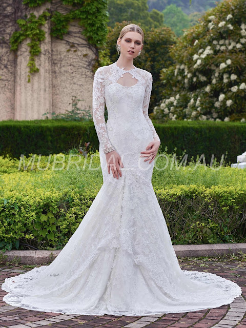 Long Sleeves Fall Spring Garden/Outdoor Court Classic & Timeless All Sizes Jewel Wedding Dress