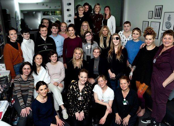 Crown Princess Mary visited Kræftværket at Rigshospitalet (National hospital) in Copenhagen. Zara burgundy sweater