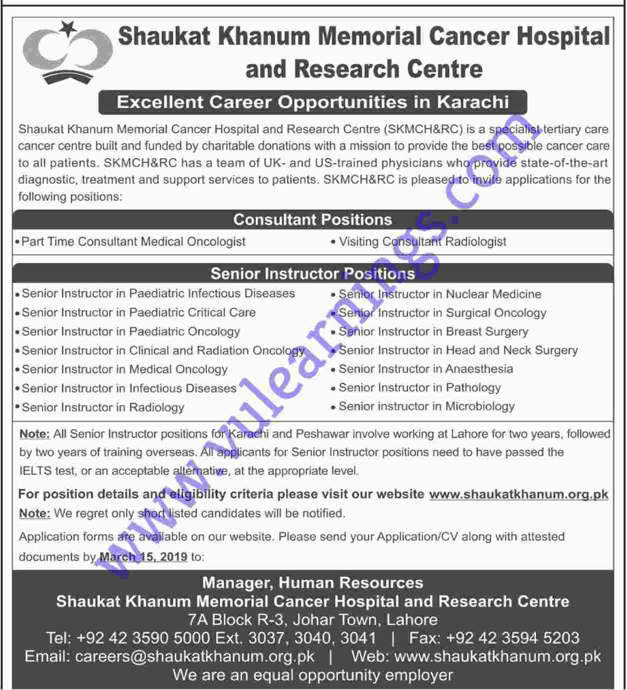 Job in Shoukat Khanum Memorial Cancer Hospital
