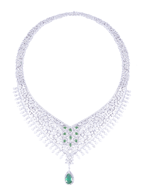 9.Diamond Neckpiec with Green Emerald by SLG Jewellers-min