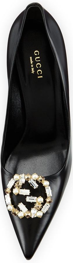 Gucci Embellished-GG Leather Pump, Black