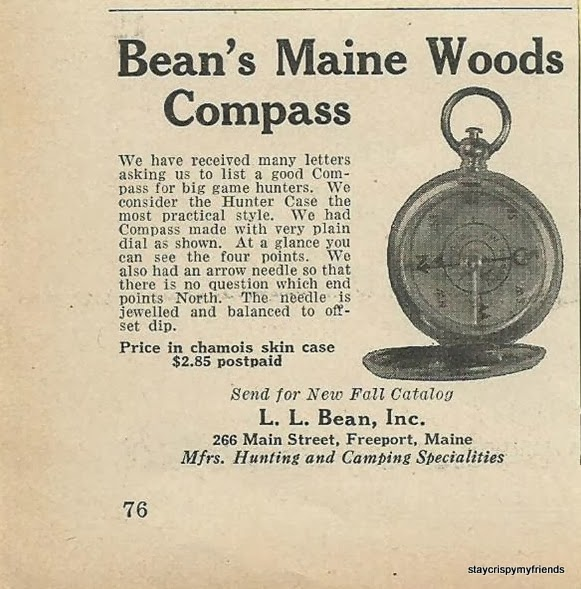 4dfde11d5 Throw Back Preppy Thursdays: LL Bean 1936 Bean's Maine woods Compass ...