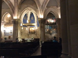 inside of beautiful church with vaulted ceilings