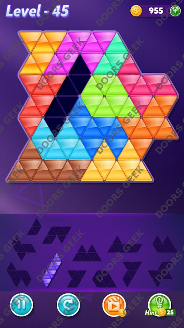 Block! Triangle Puzzle Grandmaster Level 45 Solution, Cheats, Walkthrough for Android, iPhone, iPad and iPod