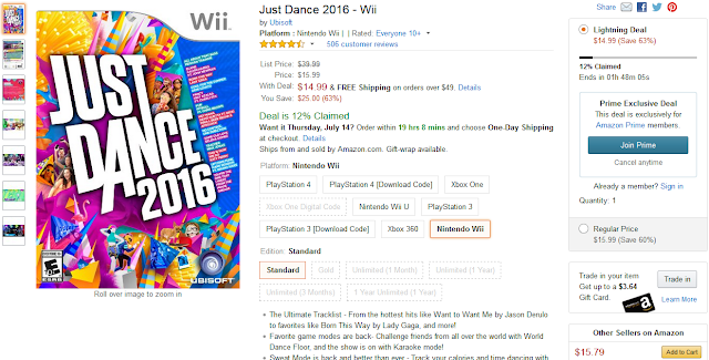 Prime Day Amazon Just Dance 2016 Wii Lightning Deal