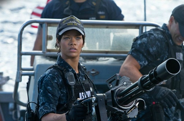 Rihanna who plays Cora Raikes, crew mate and a weapons specialist on the USS John Paul Jones.