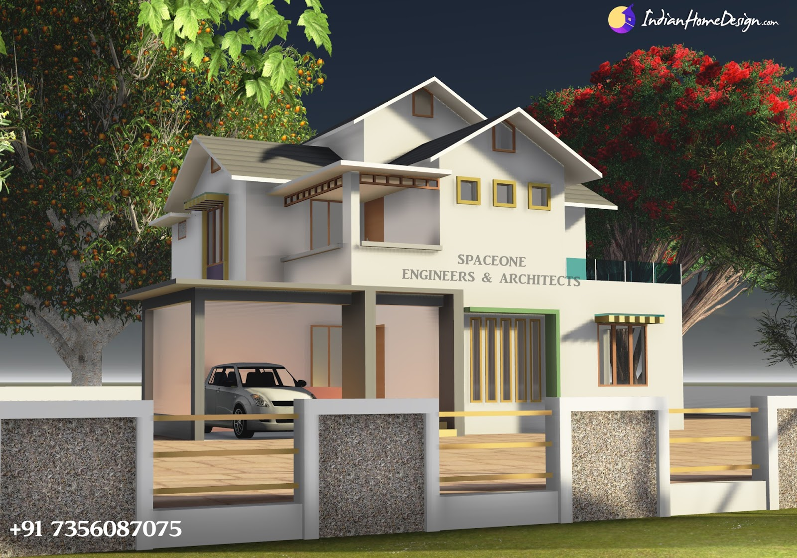 2450 sqft Modern house design for 5 cent plot by Spaceone Designers & Constructions