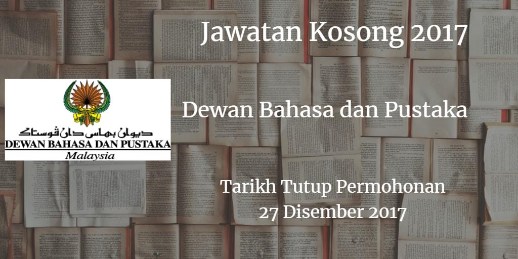 Jawatan Kosong DBP 27 Disember 2017