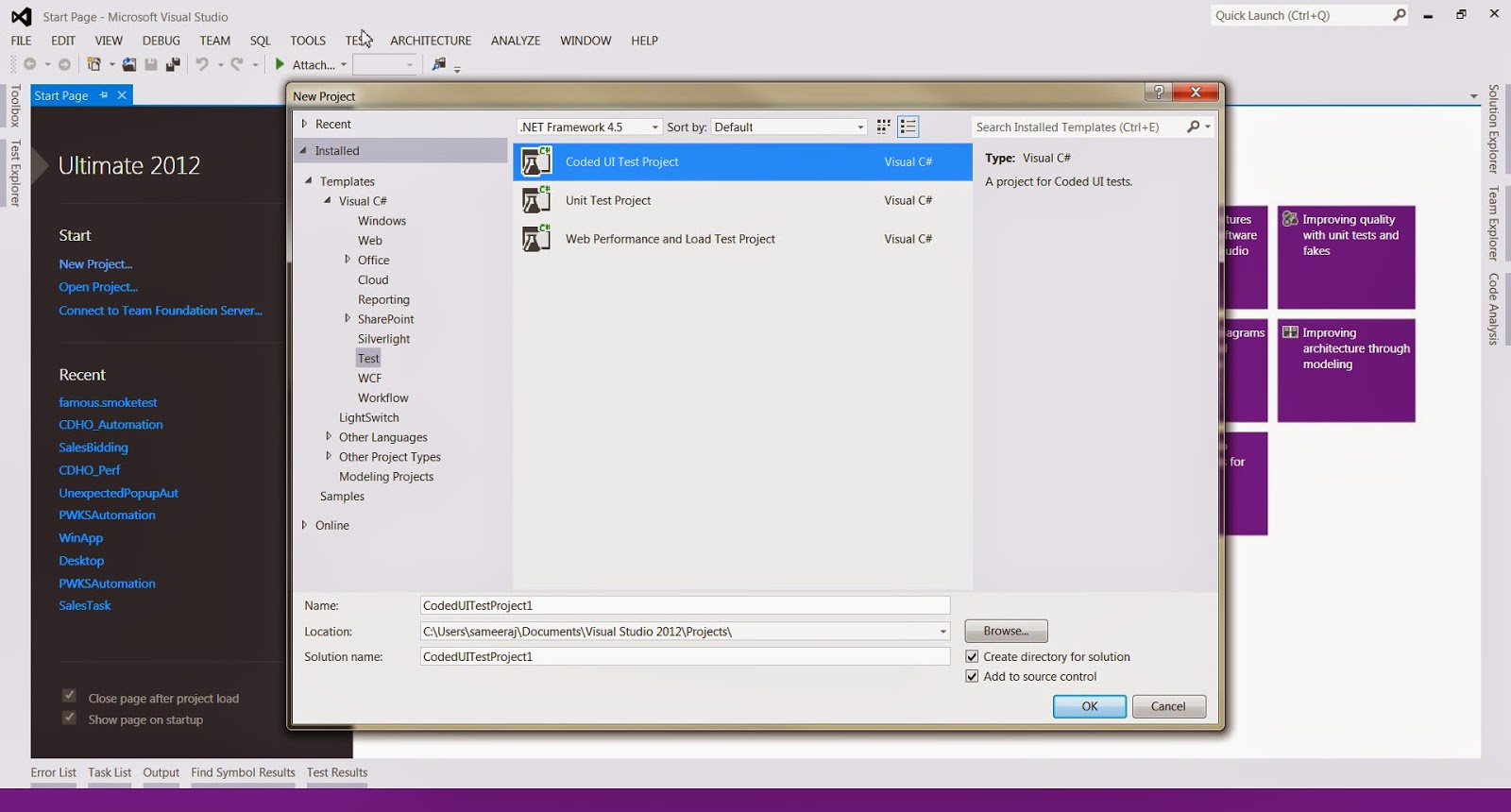 Hand-coding a Coded UI Test C# Visual Studio 2013 | Testing