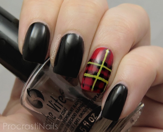 Nail art featuring the red, black and yellow Brodie Tartan