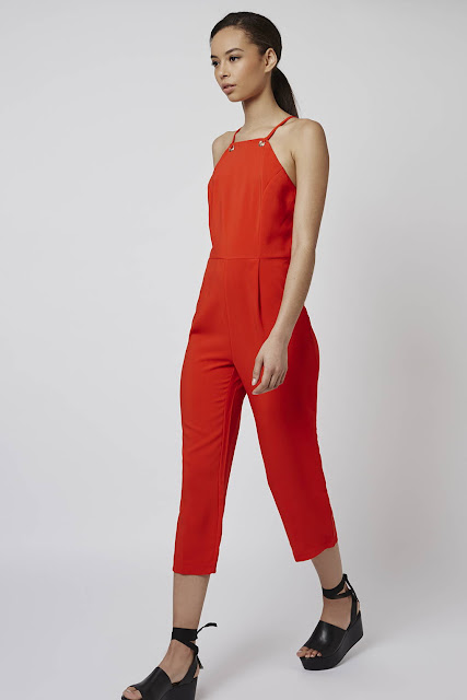 red cropped jumpsuit, red cami jumpsuit, glamorous red jumpsuit,