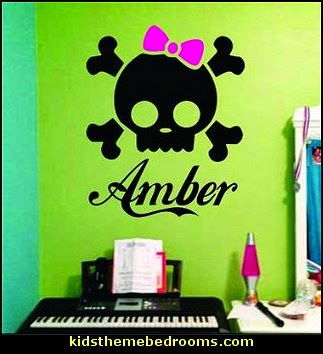 Skull with Bow Decal Sticker Wall Girl Room Teen Kid Children