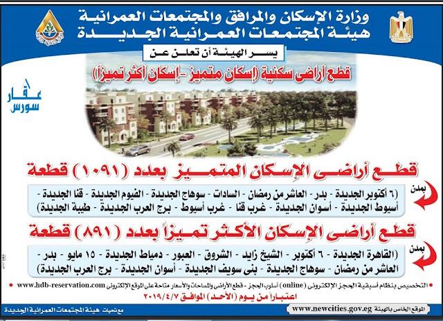 الاسكان  طرح قطع أراضى سكنية  بالقاهرة الجديدة - الإسكان المتميز بعدد (1091) قطعة – الإسكان الأكثر تميزا بعدد (891) قطعة