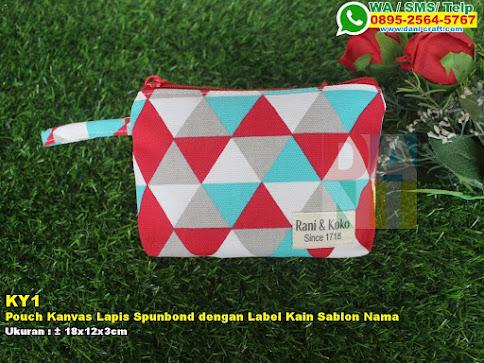 Pouch Kanvas Lapis Spunbond Dengan Label Kain Sablon Nama