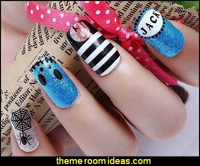 Halloween nail art - Nightmare Before Christmas Jack Skellington NAIL WRAPS STICKERS