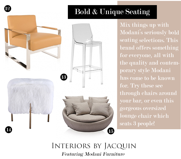 Forbe Contemporary Camel Leather Chair 13. Kelly Bar Stool 14. Mongolian  Fur Stool 15. Rosana 3 Seater In Off White