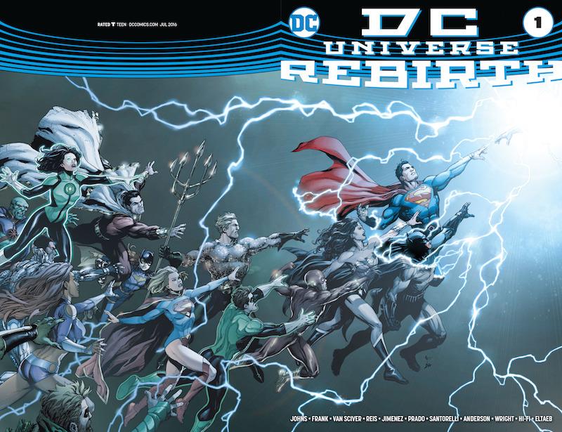 DC Universe: Rebirth #1: Story: Geoff Johns Art: Phil Jimenez, Ethan Van Sciver, Ivan Reis, Gary Frank, Alex Sinclair Colors: Brad Anderson, Jason Wright, Joe Prado, Gabe Eltaeb, Hi-Fi Inks: Matt Santorelli Letters: Nick Napolitano.