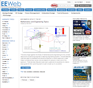 Screenshot of Enginering and Mathematics Topics in EEweb