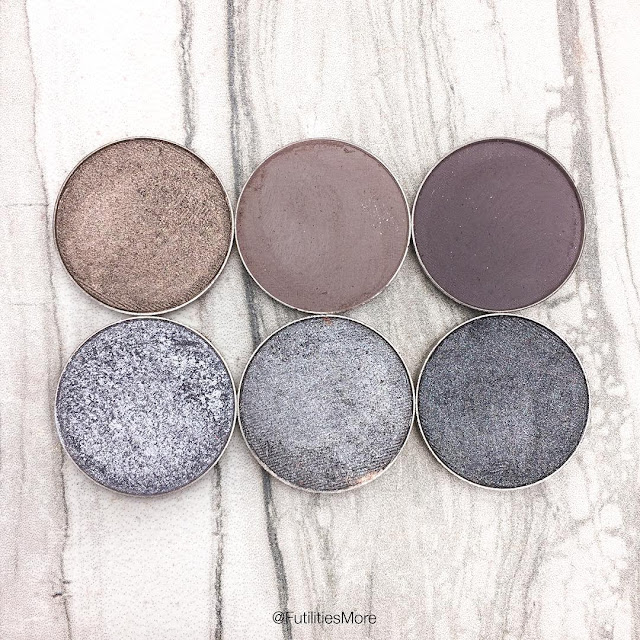 Makeup Geek Gray eyeshadows comparison and swatches