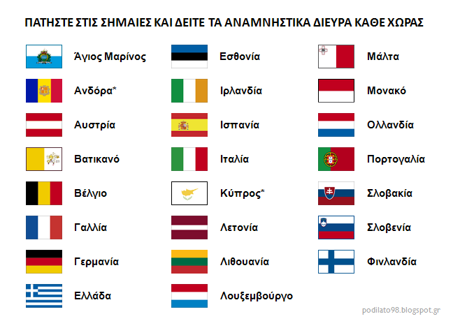 [Σημαίες χωρών με ευρώ - αναμνηστικά δίευρα]