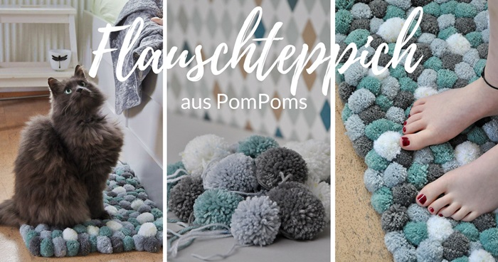 smillas wohngef hl diy flauschteppich aus pompoms. Black Bedroom Furniture Sets. Home Design Ideas