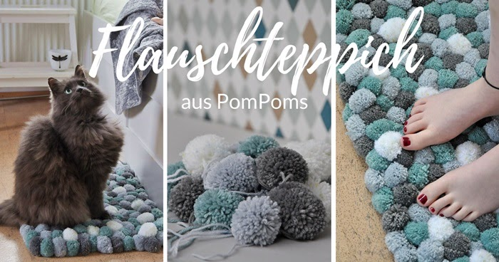 smillas wohngef hl diy flauschteppich aus pompoms einfach selber machen. Black Bedroom Furniture Sets. Home Design Ideas