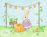pumpkin sale bunny watercolor illustration by tawnya boe art
