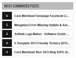 Most Commented  Post widget