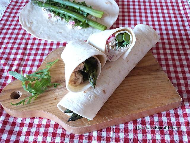 Wrap gourmand au thon et asperges vertes - Dans la cuisine d'Hilary