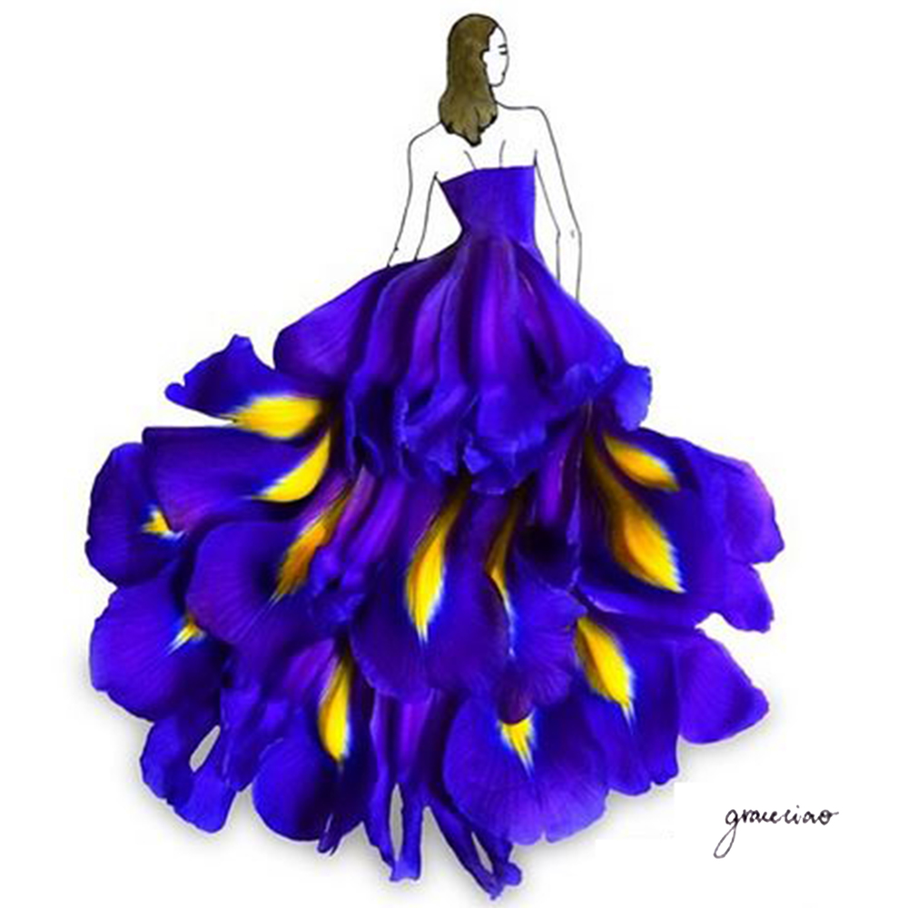 03-Blue-Iris-Nature-and-Grace-Ciao-Design-and-Draw-Dresses-with-Petals-www-designstack-co