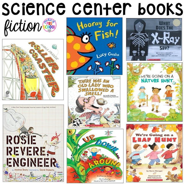 Book list for the science center (with freebies) for your early childhood classroom.