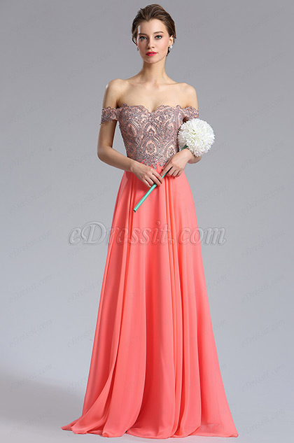 eDressit Coral Off Shoulder Beaded Women's Prom Dress