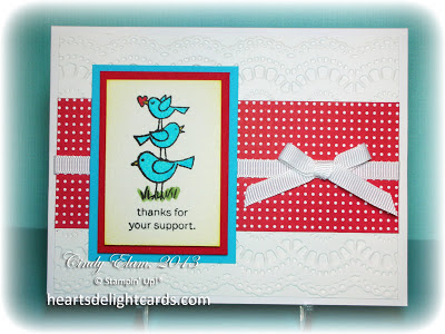 Thank You Card, Paper Crafting, Stampin' Up, Card Making, Birds, Watercolor
