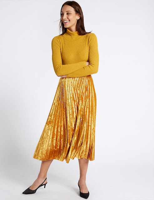mustard velvet pleated skirt