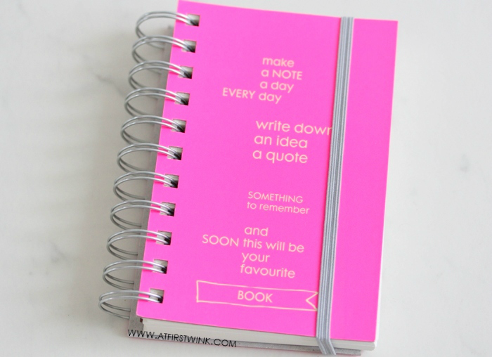 neon pink HEMA A6 notebook