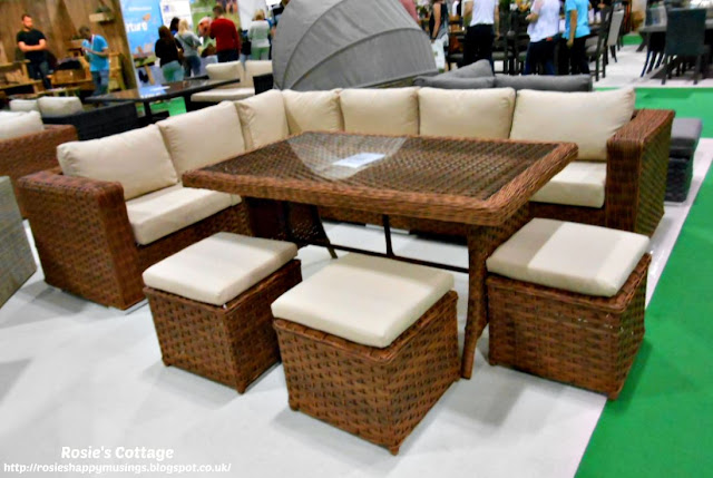Corner patio dining set with glass topped table