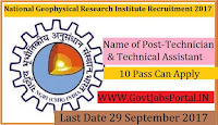 National Geophysical Research Institute Recruitment 2017– 38 Assistant Engineer & Technician
