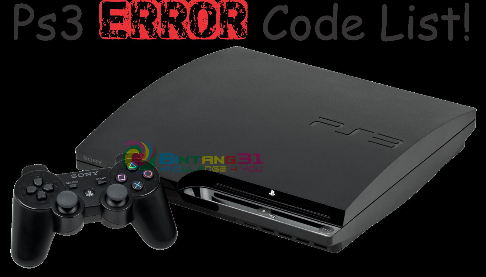 PS3 Error Code List (Daftar kode Error PS3)