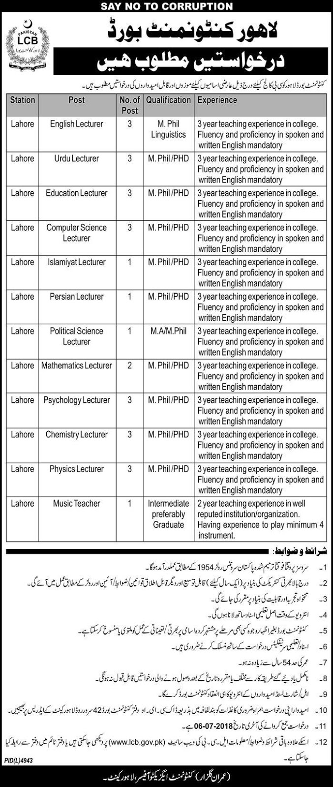 Lecturers Jobs in Cantonment Board College Lahore