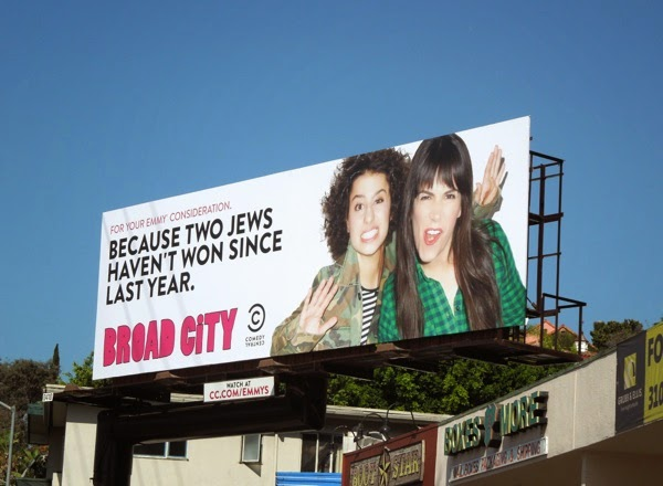 two Jews haven't won since last year Broad City Emmy 2014 billboard